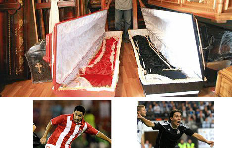 サッカーファン朗報!お好きなチームのデザイン棺桶作ります!