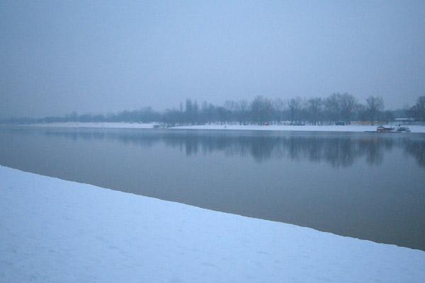 雪の日にあえてAda(川の中の島)へ行ってみる